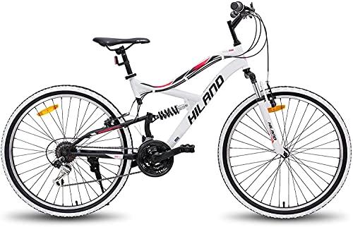 Hiland 26 Zoll Mountainbike 18 Gang Jugend MTB Fahrrad mit Federgabel Urban Commuter City Fahrrad Weiß