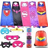 SPAR Kids Dress up 5PCS Superhero Cape and Wristband Bracelet boy Girl Birthday Party Cloth Gift.… (Superhero Cloak Women 5 Pack)