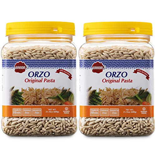 Baron's Orzo Pasta Original | 2 Pack of 21.16oz Kosher Jars | Natural Israeli Rice-Shaped Orzo for Soups, Casseroles & Salads | Cooks in 10 Minutes for Creamy & Delicious Risotto's or Rice Pilaf