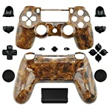 Ambertown Special Custom Full Housing Shell Case Cover with Buttons for Sony Playstation 4 PS4 Wireless Controller - Custom Hydro Dipped Wood Grain Skin