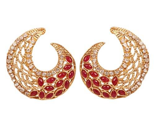 Touchstone Pendientes de diseño artístico de Bollywood de la India en tono dorado plateado para mujeres.