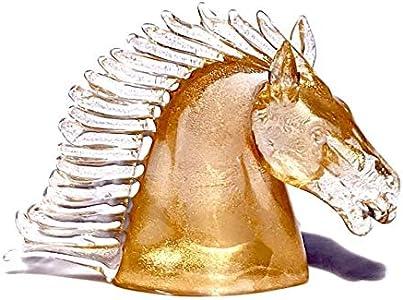 YourMurano, Escultura de cristal de Murano de cabeza de caballo, estatua de oro para decoración del hogar, marca de origen, Bucefalo