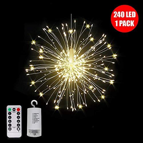 Guirnalda de luces LED de 240 a 120 LED, funciona con pilas, para colgar con mando a distancia con hadas estrelladas, decoración para interiores al aire libre, fiestas de Navidad, jardín, multi