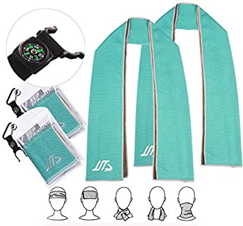 JUSTA - Instant Cooling Towel Super Absorbent Snap Cooling Towels for Sports and Fitness  40  x12  …  Pack of 2 Turquoise