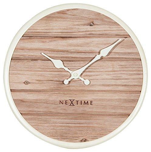 Nextime Reloj de Pared Plank, Muy silencioso, Redondo, de Madera, Blanco, Ø30 cm