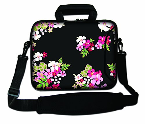 Luxburg® 14,2 Zoll Schultertasche Notebooktasche Laptoptasche Tasche mit Tragegurt aus Neopren für Laptop/Notebook Computer - Blumen auf schwarzem Hintergrund