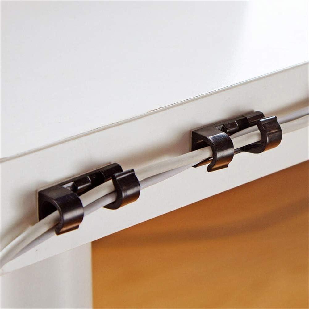 blanco 100 clips de cable fuertes clips de alambre autoadhesivos para cables y organizar cables para el hogar y la oficina