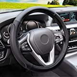 Magnelex Microfiber Leather Steering Wheel Cover – Black. Heat Resistant Anti-Slip Car Wheel Wrap - Compatible with Most Makes and Models of Cars and Trucks with 14.5 to 15 Inch Steering Wheels