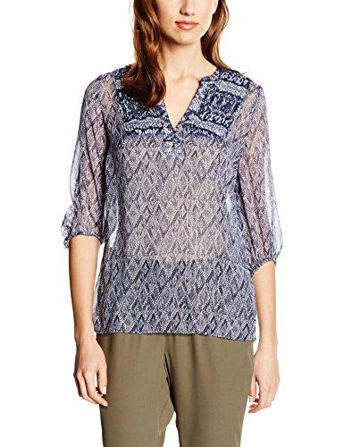 Cortefiel Damen Blouse L/S Chiffon Printe Bluse, blau, XS