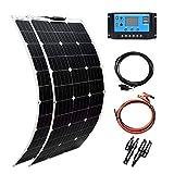 XINPUGUANG 200w Solar Kit 2pcs 100W Flexible Solar Panels Módulo Mono PERC 20A Regulador solar para autocaravana, barco, automóvil, caravana, carga de batería de 12v (200)