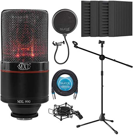 MXL 990 Blaze Cardioid Condenser Microphone for Vocals and Guitars Bundle with Blucoil 20 FT product image
