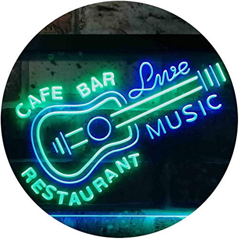 ADVPRO Guitar Live Music Café Bar Restaurant Beer Dual Farbe LED Barlicht Neonlicht Lichtwerbung Neon Sign Grün & Blau 400mm x 300mm st6s43-i2544-gb