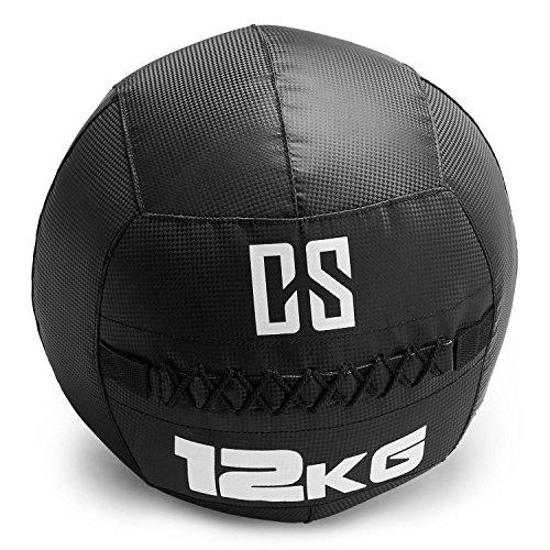 CapitalSports Bravor Balón Medicinal PVC 12 Kg (Entrenamiento del Core, Funcional y Cross, Resistente Acabado Robusto, Cosido Doble) - Negro