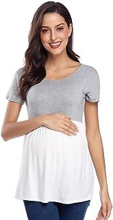 تي شيرت الحوامل النسائي من CareGabi بأكمام قصيرة وطويلة ورقبة دائرية مكشكشة.