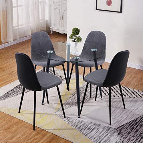GOLDFAN Esstisch mit 4 Stuhl Kleiner Glastisch und Stoff Stuhl Runder Tisch Glas für Wohnzimmer Küche,Schwarz und Grau
