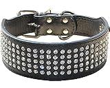 Haoyueer - Collar de perro con diamantes de imitación de 5 cm de ancho, 5 filas de cristal brillante, deslumbrante, elegante, elegante, de piel sintética para perros medianos y grandes (L, negro)