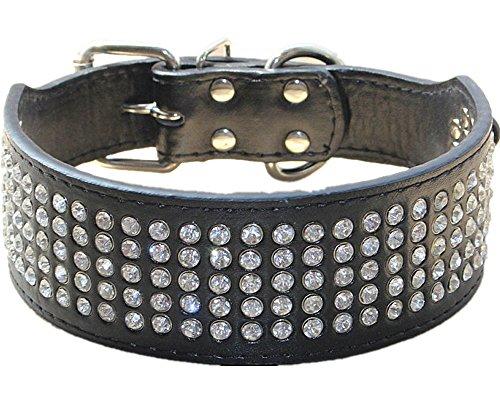 Haoyueer - Collar de perro con diamantes de imitación de 5 cm de ancho, 5 filas de cristal brillante, deslumbrante, elegante, elegante, de piel sintética para perros medianos y grandes (L, neg