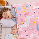 Anjee Kids Weighted Blanket 5lbs,100% Natural Cotton Heavy Blanket for Children,2.3kg 90 x 120cm Pink Unicorn