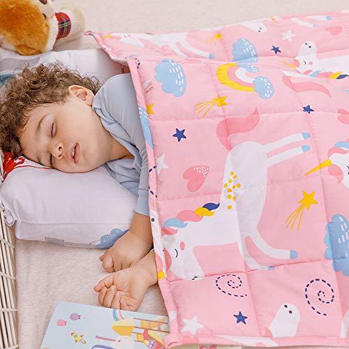 Anjee Manta Infantil, 100% algodón Natural, Manta Gruesa para niños y Adolescentes, 3kg 100x150cm, Unicornio Rosa