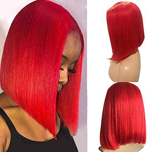 Bob Wigs Red Human Hair Wigs Glueless Lace Front Wigs Blunt Cut Bob Wigs 13x1 T Part Lace Wigs Straight Colored BOB Wigs Middle Part Brazilian Virgin Hair Pre Plucked for Black Women(8',150% Density)