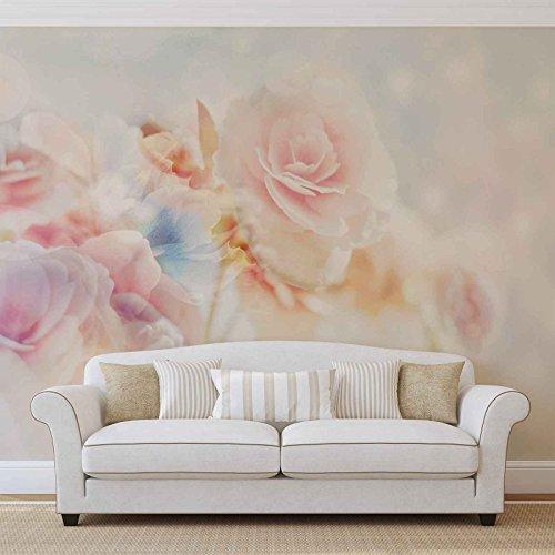 Blumen Pastellfarben - Forwall - Fototapete - Tapete - Fotomural - Mural Wandbild - (2701WM) - XXXL - 416cm x 254cm - VLIES (EasyInstall) - 4 Pieces