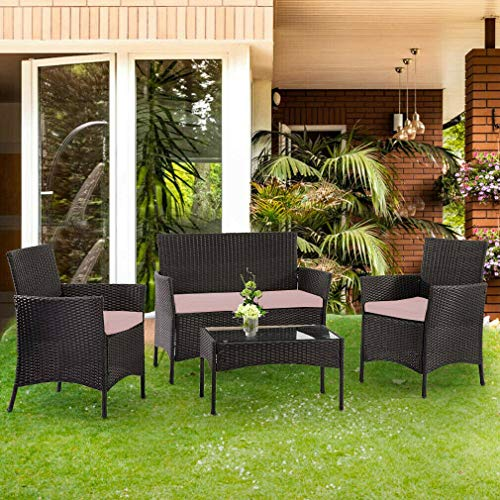 BARGAINSGALORE 4PC GARDEN RATTAN BLACK FURNITURE SET PATIO GLASS TABLE CHAIR SOFA RELAX OUTDOOR