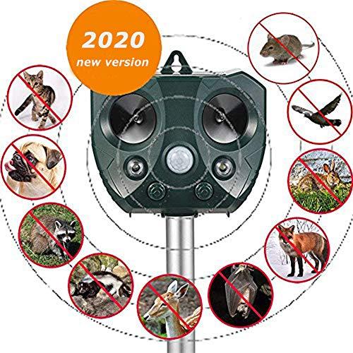 Sumeber Solar Katzenschreck Tiervertreiber Ultraschall Wetterfest mit Batteriebetrieben und Blitz & Tierabwehr Hundeschreck und Marderschreck & aspectek taubenabwehr