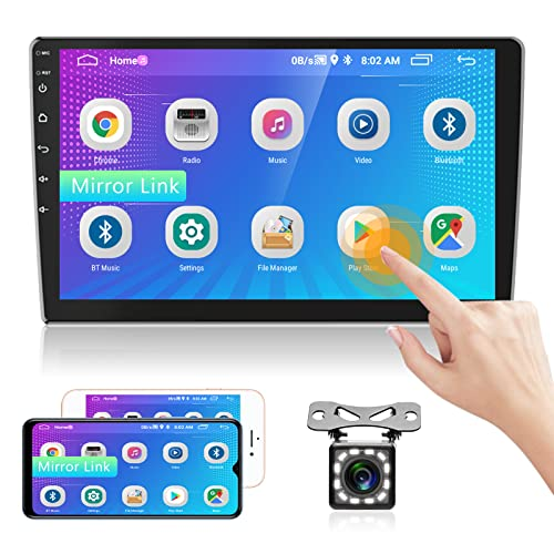 Rimoody 10 Zoll Android Autoradio mit Navi 2 DIN für 16GB FM Radio 2USB 1080P HD-Touchscreen Autoradio Mit Bluetooth Unterstützt Android WiFi 4G Spiegel-Link+Autoradio Rückfahrkamera