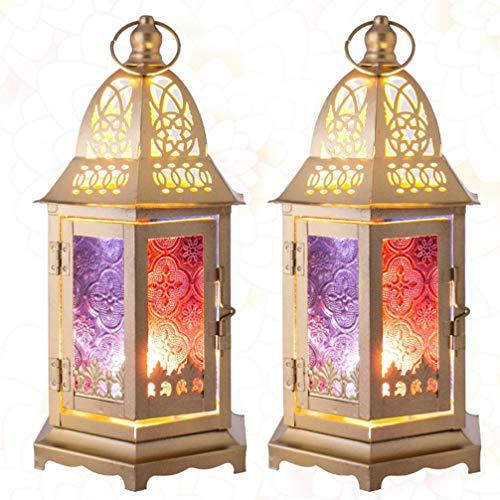 Mobestech 2 Stks Marokkaanse Kaars Lantaarn Smeedijzeren Gebrandschilderde Winddichte Lamp Decoratieve Lantaarn Voor Home Party Decor Bruiloft Festival