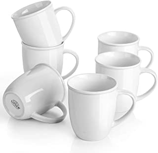LIFVER 18 Ounces Coffee Mugs, Large Porcelain Cups for Coffee, Tea, Cocoa, Set of 6, White