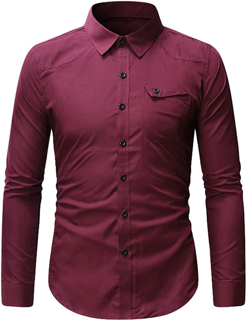 Gergeos Men's Regular-Fit Casual Long Sleeves Cotton Button Down Dress Shirts