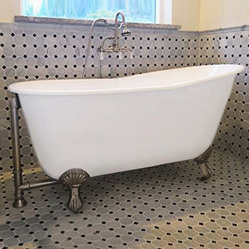 54' Cast Iron Swedish Tub with NO Faucet Holes & Brushed Nickel...