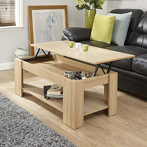 Coffee Table With Storage Lift Up Coffee Table For Living Room Modern Coffee Tables Large Hidden Compartment Wood Fold Top Expanding Living Room Furniture (Oak)