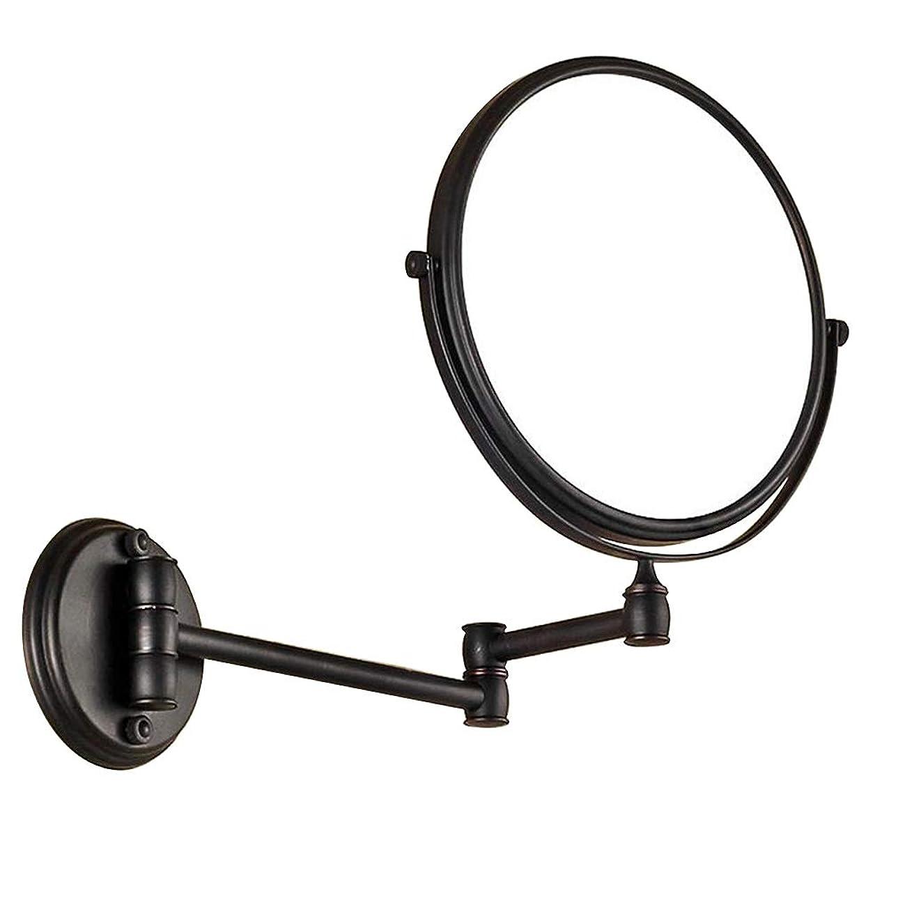 レコーダー暖かさ住居HUYYA 化粧鏡、3倍拡大 化粧ミラー 両面 壁掛け式 けメイクミラー 360 °回転 伸縮可能折りバスルームの鏡,Black_8inch