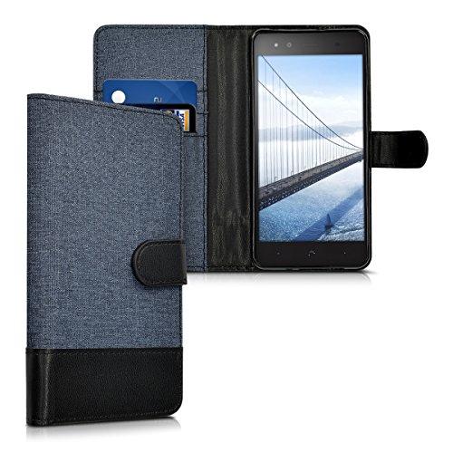 kwmobile Carcasa Compatible con bq Aquaris X5 Plus - Funda de Tela y Cuero sintético Tarjetero Azul Oscuro/Negro