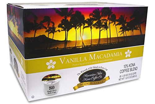 Hawaiian Isles Kona Coffee 80 Single Serve Coffee K Cups (Vanilla Macadamia)