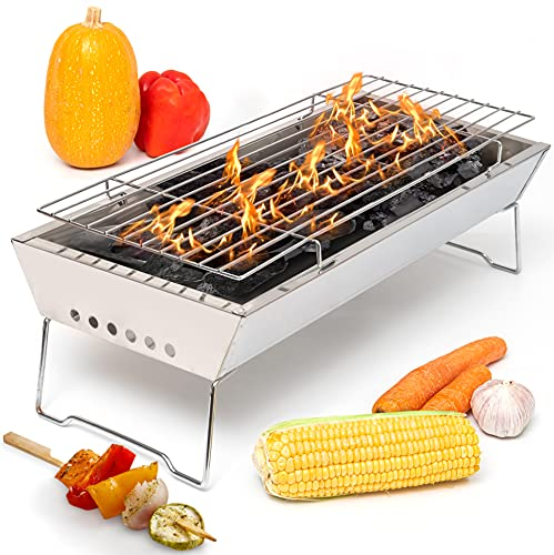 17' In Portable Tabletop Grill, Charcoal Barbecue Grill, Stainless...