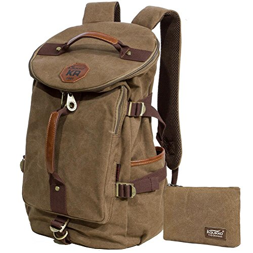 KAUKKO Canvas Rucksack Backpacks Oudoor Hiking Camping Hunting Travel Military Backpacks...