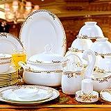 60 Stück Tafelservice, Porzellan Küche Weiß Runde Bone China Geschirr Set Mit Dessertteller Abendessen Teller Müslischalen Gerichte Suppentopf Service Für 10 Personen