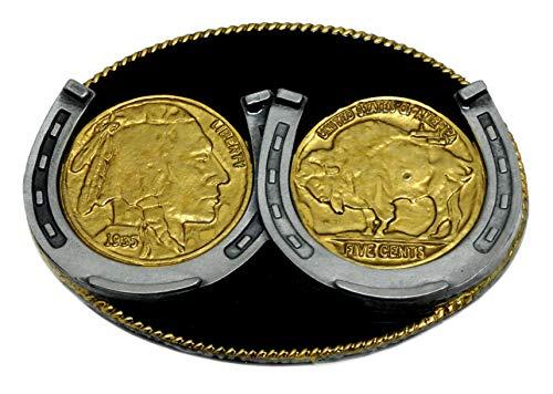 Munten & hoefijzers riem gesp Amerikaanse westerse thema ovaal ontwerp zwart & goud authentieke witte wolf merkproduct