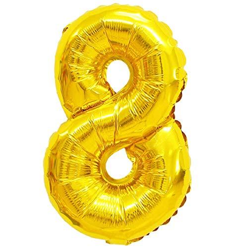 Globos de helio XXL de papel de aluminio, letras y números y caracteres en color dorado; plateado, 80 cm, gran decoración para fiesta de cumpleaños, boda, fiesta, plástico, 8 - oro, dorado