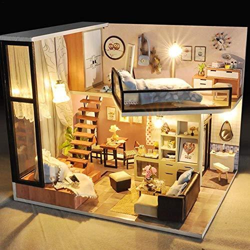 Maisons de Poupées en Bois Model Kits DIY Cottage de la Maison Miniature Fabriqué Kit Fait à la Main Maison de Poupée Décoration