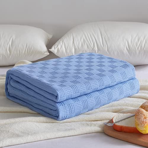 Manta de waffle, manta de algodón para sofá, manta de toalla de algodón para niños adultos de verano, aire acondicionado, colcha de franela de forro polar suave para sofá/sillas/sofá