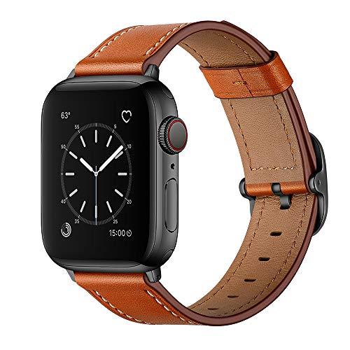 AISPORTS Compatible con Apple Watch Correa de piel de 44 mm y 42 mm para mujeres y hombres, suave y transpirable, correa de repuesto para Apple Watch SE/iWatch Series 6/5/4/3/2/1