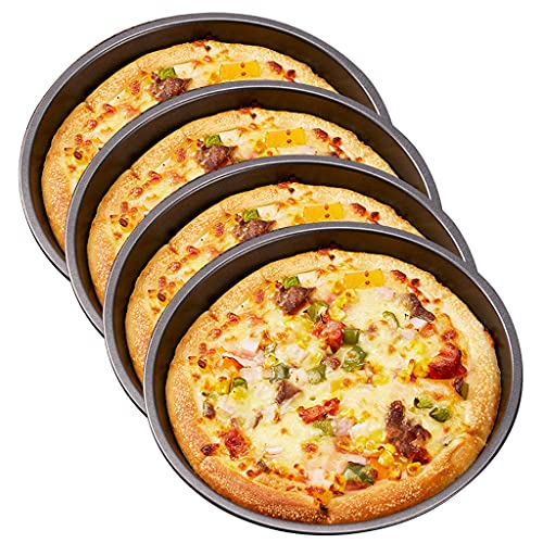 Premium Non-Stick Bakeware Pizza Pan 6-Inch Pan-Food Grade Carbon Steel 4 Pack Pizza Baking Pan Round Cake Pan Dish Oven Safe Tray Bakeware (Color : Gray, Size : 6inch)