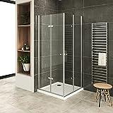 MOG Mampara de Ducha 90x90cm altura: 180 cm Cabina de ducha con Apertura de Puerta plegable 6mm Vidrio transparente de...