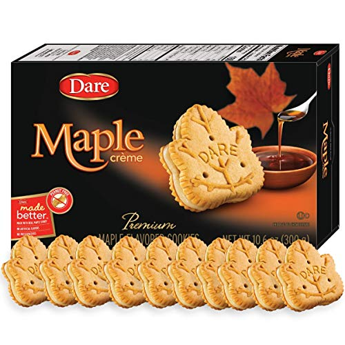 Dare Maple Leaf Crème Cookies – Classic Canadian Cookie Made with Real Maple Syrup, Peanut Free – 10.6 Ounces (Pack of 12)