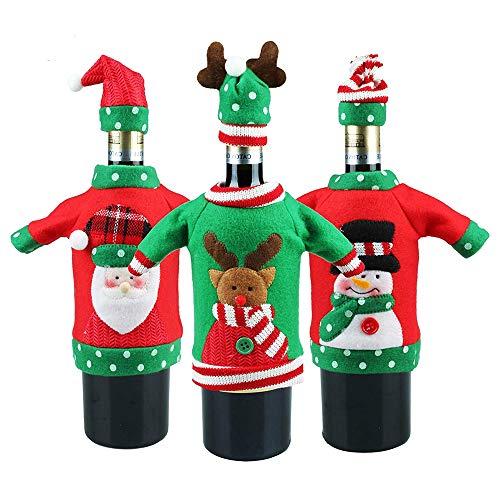 Nv Wang Weihnachten Weinflasche Abdeckung Taschen, Flaschen-Kleidung 3pcs Weihnachten Flaschen Deko Party Restaurant weinrot Weinflasche Flaschenanzug Flaschenüberzug Weihnachtsmann Hut Flaschebeutel