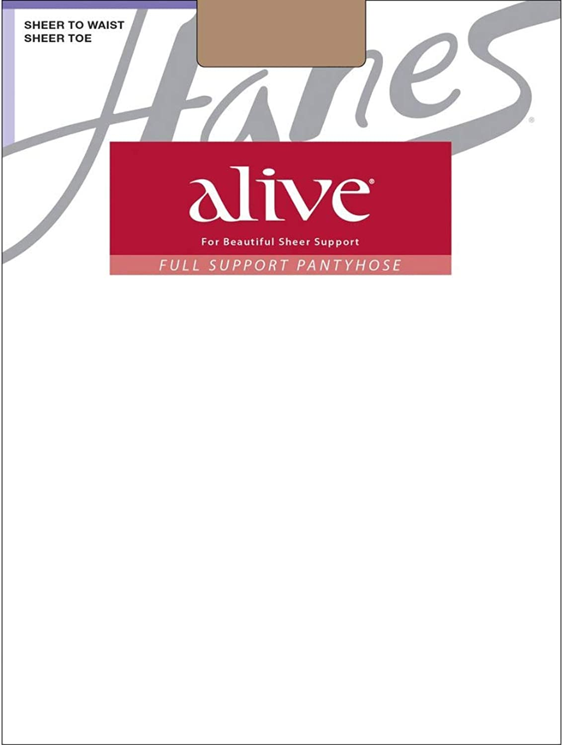 Hanes Alive Pantyhose All Sheer Regular 3-Pack Size A-F Non-Control Top Silky Sheer Knit Versatile Sheer Toe