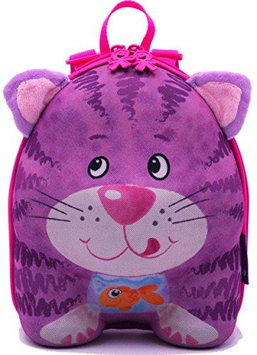 okiedog wildpack Kinderrucksack, Rucksack mit Plüschohren, Kita-Rucksack, aus Eva, Katze rosa, ca. 22 x 27 x 12 cm